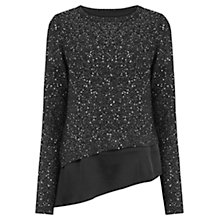 Buy Oasis Asymmetric Sequin Embellished Top, Black Online at johnlewis.com