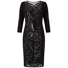 Buy Adrianna Papell Sequin Panel Jersey Cocktail Dress, Black Online at johnlewis.com