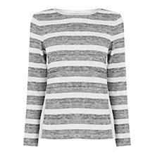 Buy Oasis Stripe Cut and Sew Top, Mid Grey Online at johnlewis.com