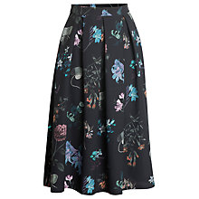 Buy Urban Touch Floral Print Pleated Midi Skirt, Black Online at johnlewis.com