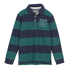 Buy Fat Face Boys' Stripe Rugby Shirt, Evergreen Online at johnlewis.com