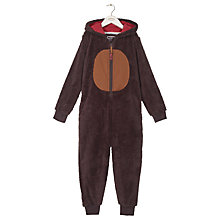 Buy Fat Face Children's Moose Fleece Onesie, Chocolate Online at johnlewis.com