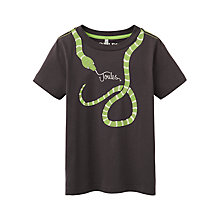 Buy Little Joule Boys' Ray Glow In The Dark Snake T-Shirt, Coal Online at johnlewis.com