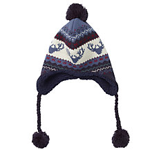 Buy Fat Face Children's Moose Fair Isle Trapper Hat, Navy Online at johnlewis.com