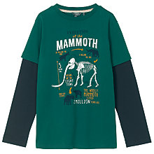 Buy Fat Face Boys' Long Sleeve 2 in 1 Mammoth T-Shirt, Evergreen Online at johnlewis.com