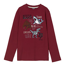 Buy Fat Face Boys' Long Sleeve Battle of the Beasts T-Shirt, Rust Online at johnlewis.com