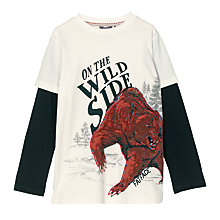 Buy Fat Face Boys' Long Sleeve 2 in 1 3D Bear T-Shirt, Ecru Online at johnlewis.com