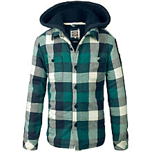 Buy Fat Face Boys' Warmwell Hooded Check Shacket, Evergreen Online at johnlewis.com