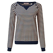 Buy Maison Scotch Button Detail Stripe Jumper, Navy/Pink Online at johnlewis.com