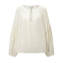 Buy Maison Scotch Sheer Embroidered Tunic Top, White Online at johnlewis.com