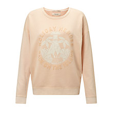 Buy Maison Scotch Garment Dyed Slogan Sweatshirt, Rose White Online at johnlewis.com
