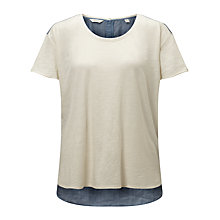 Buy Maison Scotch Woven Back T-Shirt, Off White/Blue Online at johnlewis.com