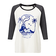 Buy Maison Scotch 3/4 Sleeve Graphic T-Shirt, White/Grey Online at johnlewis.com
