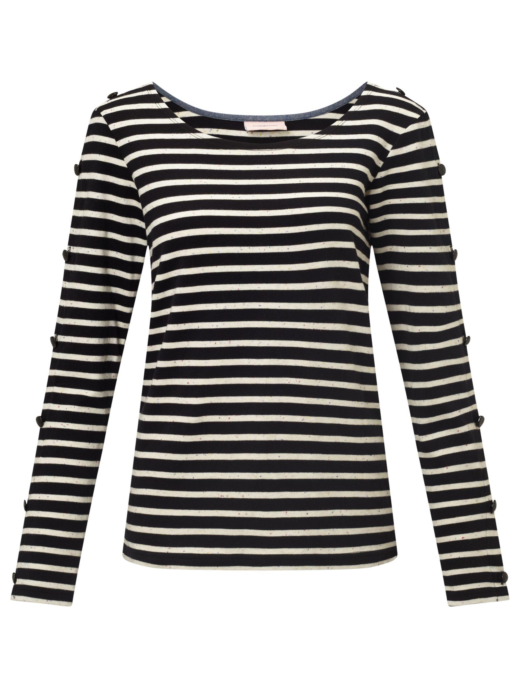 Maison Scotch Maison Scotch Long Sleeve Breton T-Shirt, Black Melange