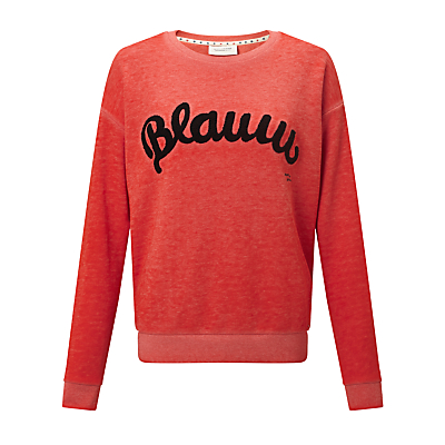 Maison Scotch Blauw Burnout Sweatshirt, Hot Lips