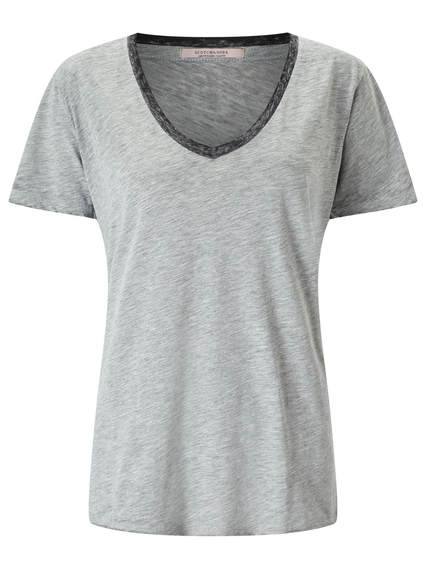Maison Scotch Maison Scotch Burnout Deep V-Neck T-Shirt, Grey Melange