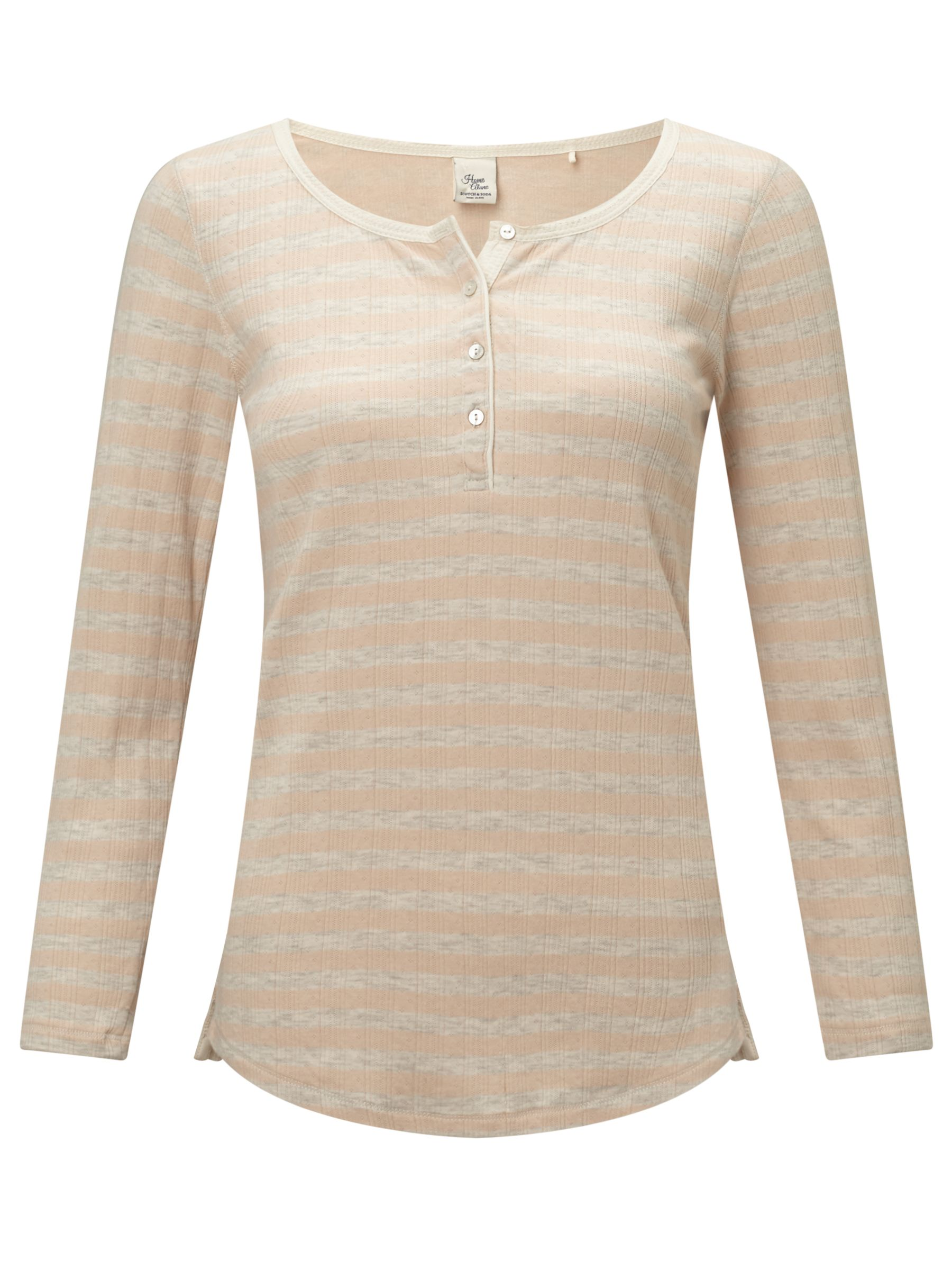 Maison Scotch Maison Scotch Home Alone Stripe Grandad T-Shirt, Peach Melange