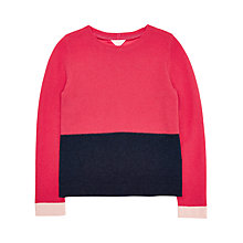 Buy Jigsaw Girls' Colour Block Jumper, Navy/Pink Online at johnlewis.com
