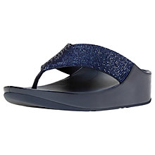 Buy FitFlop Crystall Toe Post Sandals, Navy Online at johnlewis.com