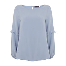 Buy Mint Velvet Ruffle Sleeve Blouse, Cloud Blue Online at johnlewis.com