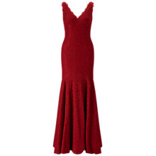 Buy Adrianna Papell Sleeveless V-Neck Lace Trumpet Gown, Crimson Online at johnlewis.com