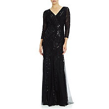 Buy Adrianna Papell Three-Quarter Sleeve Beaded Wrap Front Gown, Black Online at johnlewis.com