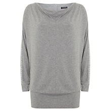 Buy Mint Velvet Foil Print Batwing Top, Silver Grey Online at johnlewis.com