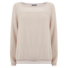Buy Mint Velvet Knitted Trim Blouson Top, Light Pink Online at johnlewis.com