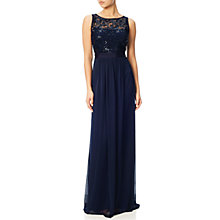 Buy Adrianna Papell Sequin Mesh Stretch Tulle Gown, Midnight Online at johnlewis.com