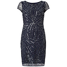 Buy Adrianna Papell Short Sleeve Fully Beaded Sheath Dress, Navy/Gunmetal Online at johnlewis.com