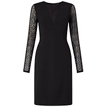 Buy Adrianna Papell Long Sleeve Lace Detail Fitted Dress, Black Online at johnlewis.com