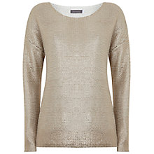 Buy Mint Velvet Foil Print Cocoon Jumper, Champagne Online at johnlewis.com