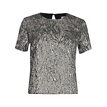 Buy True Decadence Jacquard Short Sleeve Top, Pewter Online at johnlewis.com