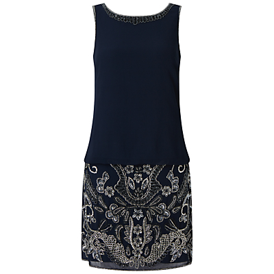 Adrianna Papell Beaded Blouson Cocktail Dress, Navy