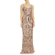 Buy Adrianna Papell Sleeveless Sequin V-Neck Mermaid Dress, Rose Gold Online at johnlewis.com