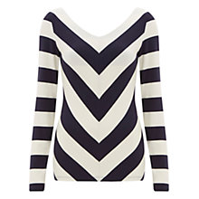 Buy Finery Bancroft V-Neck Striped Top, Ivory / Navy Online at johnlewis.com