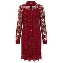 Buy Finery Everett Corded Lace Shirt Dress, Burgundy Online at johnlewis.com