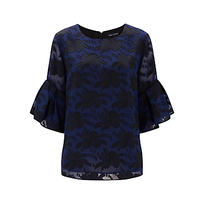 Finery Arliss Burnout Frill Sleeve Top, Navy/Black