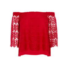 Buy Coast Halinan Bardot Top, Red Online at johnlewis.com