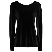 Buy Reiss Maz Velvet Long Sleeve Top, Black Online at johnlewis.com
