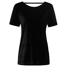 Buy Reiss Maz Short Sleeve Velvet Top, Black Online at johnlewis.com