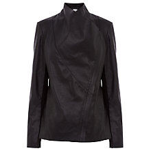 Buy Warehouse Faux Leather Cowl Drape Jacket, Black Online at johnlewis.com