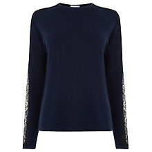 Buy Warehouse Lace Sleeve Jumper, Navy Online at johnlewis.com