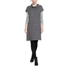 Buy East Bardot Stripe Jersey Dress, Navy Online at johnlewis.com
