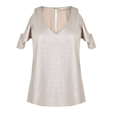 Buy Oasis Metallic Cold Shoulder Top, Gold Online at johnlewis.com