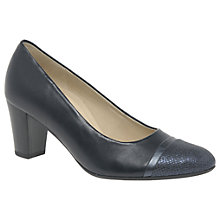 Buy Gabor Deal Wide Block Heeled Court Shoes, Ocean Online at johnlewis.com