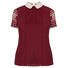 Buy Oasis Collared Lace T-Shirt, Mid Red Online at johnlewis.com