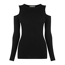 Buy Oasis Rib Cold Shoulder Top, Black Online at johnlewis.com