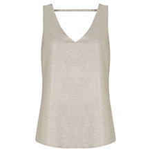 Buy Oasis Metallic V Front And Back Vest, Medium Silver Online at johnlewis.com