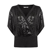Buy Oasis Sequin Wrap Front Top, Black Online at johnlewis.com